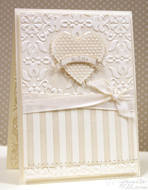 Stampin' Up!, Wedding, Card, Mr & Mrs, Love, CAS, Embossed, Crumb Cake, Teneale Williams