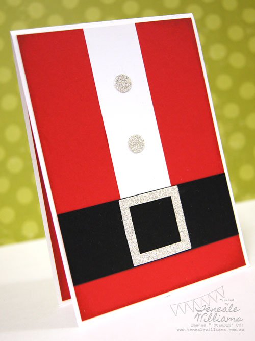 Santa Card, Bling, Stampin' Up!, Teneale WILLIAMS, Christmas, Stamp A Stack