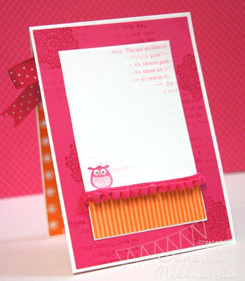 Stampin' Up!, Teneale Williams, Aviary, Girl's Birthday Card, Owl, Melon Mambo, Stampin' Up! Fabric, Flirtatious Fabric, DSP, Sydney cardmaking classes, Hair Clip, Yo yo flower