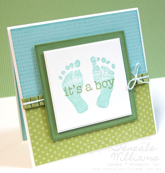 Baby Card, Teneale Williams, Stampin' Up!, Boy, Baby Prints, Stamp Set, Little Additions