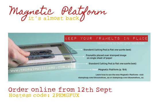 Magnetic Platform on sale again from 12th September in Australia through Teneale Williams. See www.tenealewilliams.com.au