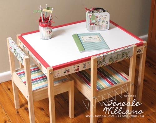 By Teneale Williams www.tenealewilliams.com.au Hybrid My Digital Studio {MDS} project. Using Storytime Digital download. Kids craft table from Ikea which has been personalised. #stampinup #mds #ikea #hybrid #kidstable