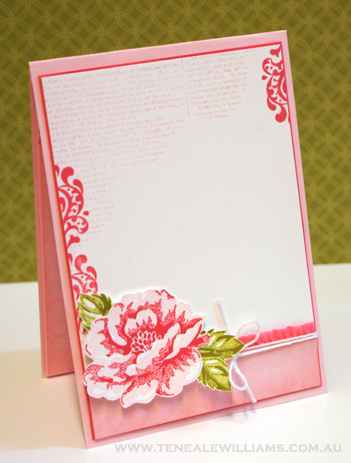 Inside the card. By Teneale Williams. Stippled Rose and Beautifully Baroque #StampinUp
