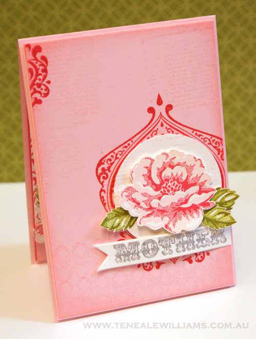 By Teneale Williams. Stippled Rose Mothers Day Card #StampinUp