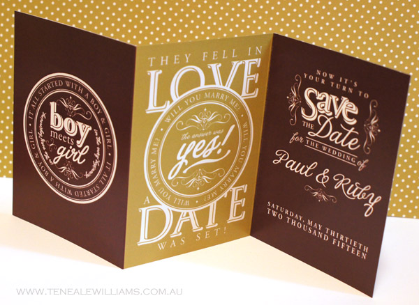 Tri Fold #SaveTheDate Create your own #wedding #Stationary with #MyDigitalStudio and #StampinUp