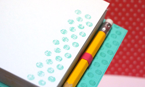 By Teneale Williams| Take a plain not pad from a dollar store and create something pretty special with a few stamps and ink