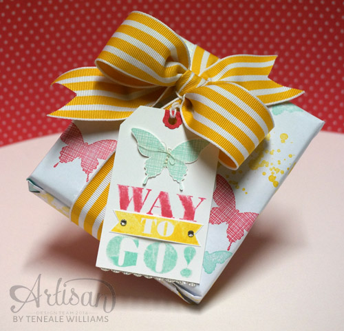 BY Teneale Williams| Create your own Wrapping paper with a few stamps, ink and printer paper. Now my wrapping & gift match