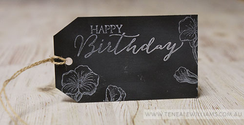 By Teneale Williams | Chalkboard Happy Birthday Tag | Stampin Up! Materials Used