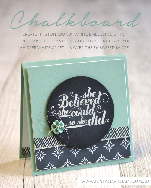 By Teneale Williams | Feel Goods Stamp Set From Stampin' Up! | Chalkboard Technique