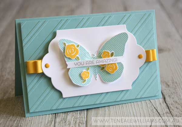 By Teneale Williams | Cottage Greetings and Floral Wings Stamp Sets from Stampin' Up! | TGIF challenge use your new catty faves  #tgifc12‬