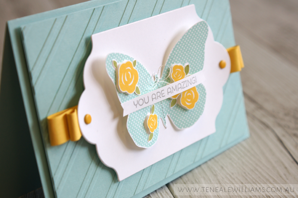By Teneale Williams | Cottage Greetings and Floral Wings Stamp Sets from Stampin' Up! | Lots of Labels Framelits and Stylish Stripes Embossing Folder