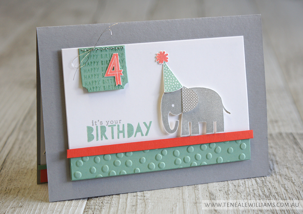 By Teneale Williams | INKspired Blog Hop 25 | 4th Birthday Card featuring all Stampin' Up! Product; Zoo Babies, Birthday Yay  and Age Awareness Stamp Sets