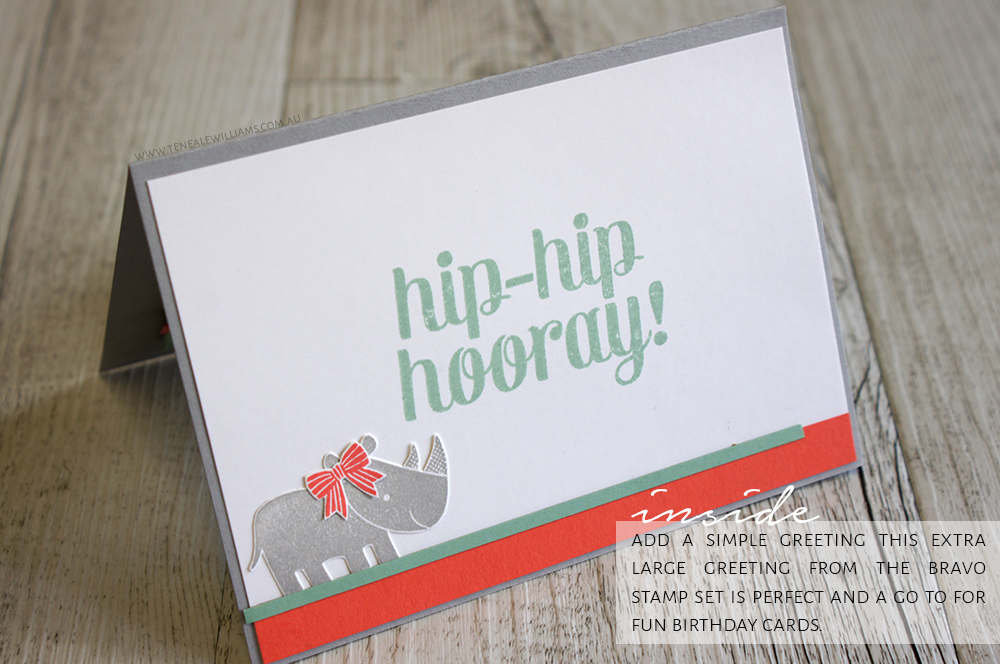 By Teneale Williams | Inside of card, Birthday theme using Zoo Babies stamp set From Stampin' Up!