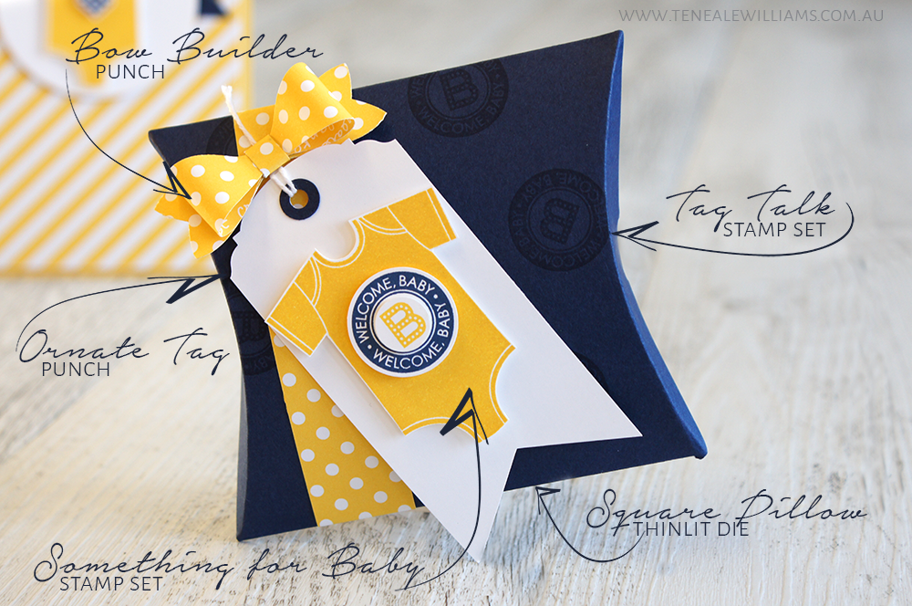 By Teneale Williams | Baby Boy welcome card with gift card pocket in Night Of Navy and Daffodil Delight | All materials from Stampin' Up! Something for Baby and Tag Talk Stamp Sets with Square Pillow Box Thinlits Dies