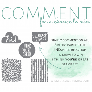 Stampin' Up! Comment to win I Think You're Great Stamp Set