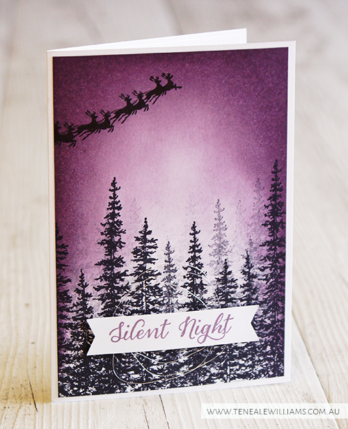 Teneale Williams | Stampin' Up! Wonderland Stamp Set | Christmas Card 2015 Elegant trees with Sponged Sky #StampinUp #PerfectPlum #ChristmasCard #Handmade