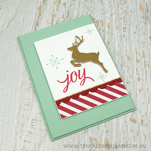 By Teneale Williams | Your Presents and Jolly Christmas Stamp Sets by Stampin' Up! | Handmade Christmas card with a retro style. Greeting of Joy on the front of the card and a hand stamped reindeer. Christmas 2015