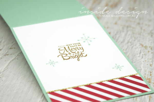 By Teneale Williams | Complete your card with a stamped inside, keeping it simple stamping stars from Jolly Christmas and the greeting from Lots of Joy. All Materials are from Stampin' Up! make your own Christmas cards and share your creative side.