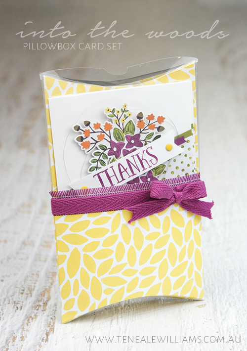 By Teneale Williams | Stampin' Up! Artisan Blog Hop | Thankful Forest Friends Pillow Box Card Set