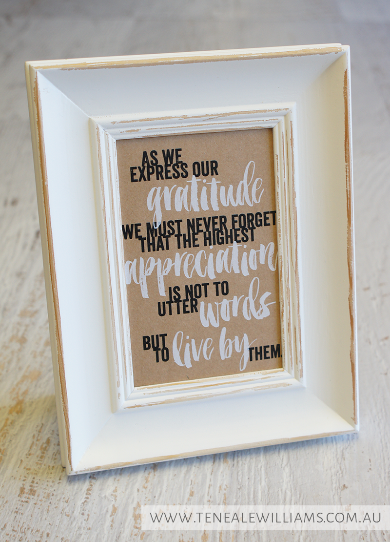 By Teneale Williams | Project Life by Stampin' Up! Seasonal Snapshot Card Collection | Teacher appreciation framed quote