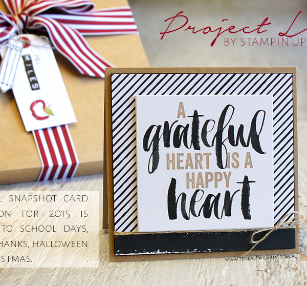 By Teneale Williams | Project Life by Stampin' Up! Seasonal Snapshot Card Collection | Give thanks for a grateful heart with frame PL card and matching card