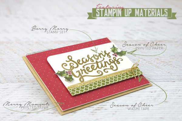 By Teneale Williams | Handmade Christmas card using all Stampin' Up! Materials | Berry Merry Photopolymer Stamp Set