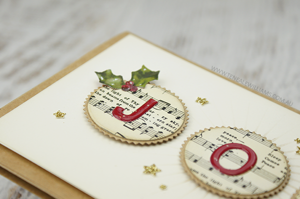 By Teneale Williams | Christmas card using Stampin Up Little Letters Thinlit Dies, cut with Big Shot.