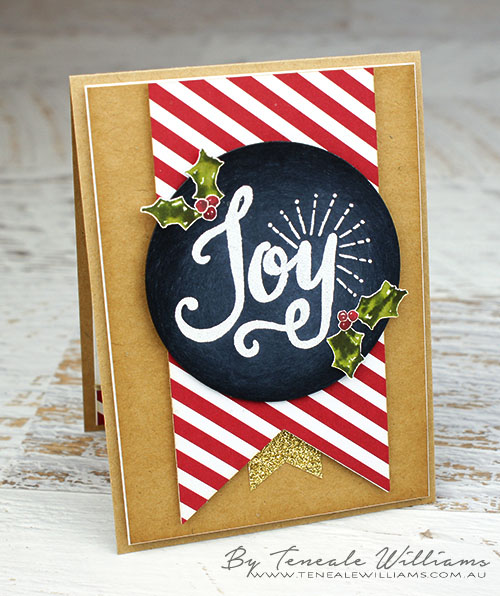By Teneale Williams | #ChristmasCard #handmade using #craft Materials from Stampin' Up! the stamp set featured in called Berry Merry, White embossing was used on Black cardstock for a Chalkboard look. A fun stamping technique