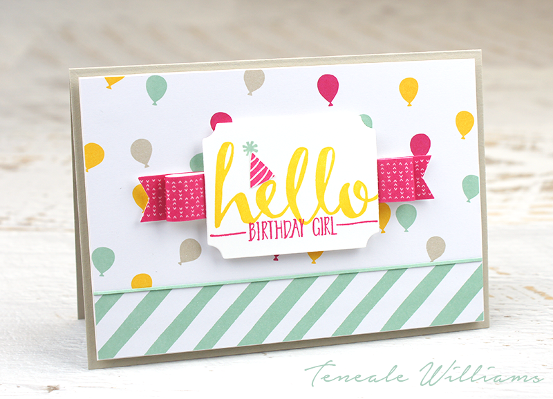 "By Teneale Williams | Fun and Cheerful Birthday card using It's my Party product suite from Stampin"" Up! and Hello Stamp Set which is part of the Sale-A-Bration 2016 range"
