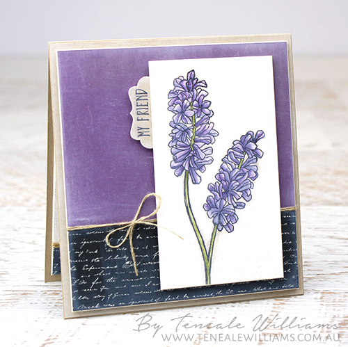 By Teneale Williams | Stampin Up! Materials Used Helping Me Grow Stamp Set | Coloured with Blender Pen, colours used Pear Pizzazz highlighs in Old Olive and flowers a combo on Wisteria Wonder and Eggplant