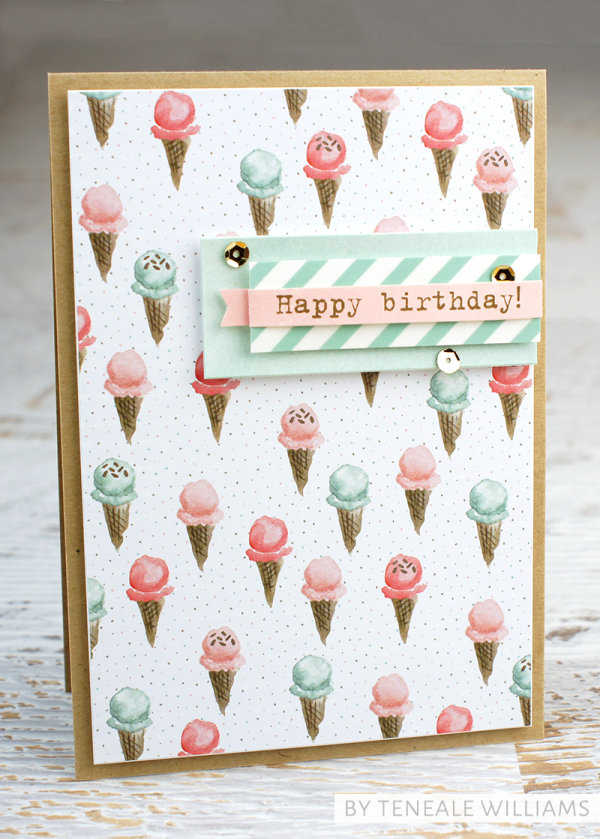 By Teneale Williams | Birthday Bouquet DSP | Calories don't count today, happy birthday greetings from Party With Cake Stamp set. All product from Stampin'Up!