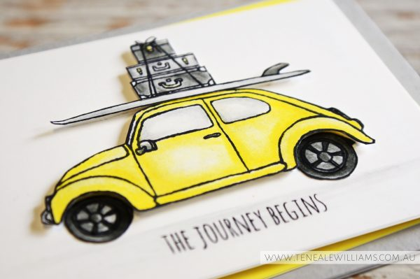 By Teneale Williams | Global Design Project #GDP025 Colour Challenge Daffodil Delight, Smoky Slate, Basic Grey | Stampin' Up! Beautiful Ride Stamp Set used