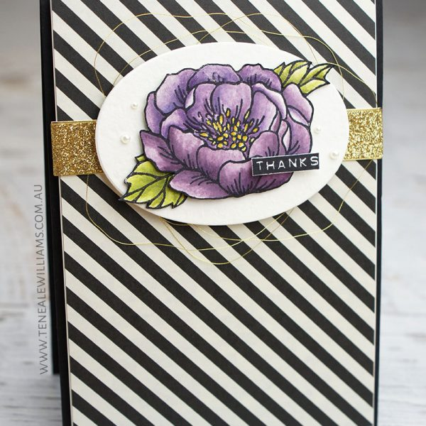 By Teneale Williams | Stampin' Up! Birthday Blooms Stamp Set 140658 | Watercoloured with Perfect Plum, Eggplant, Hello Honey, Old Olive and Pear Pizzazz