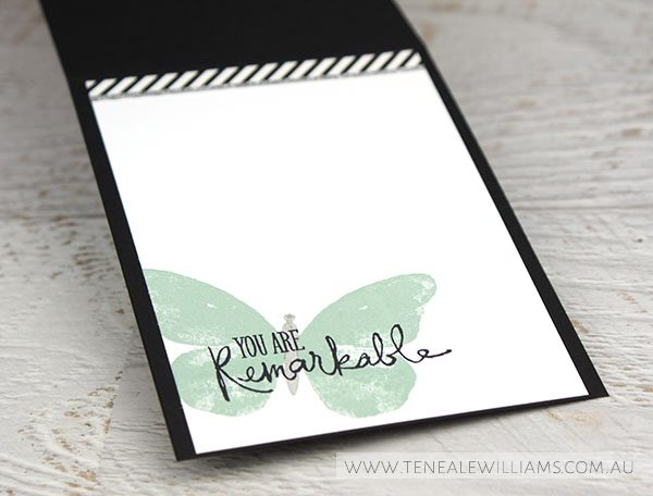 By Teneale Williams | Watercolour Wings Stamp Set used | Inside of card