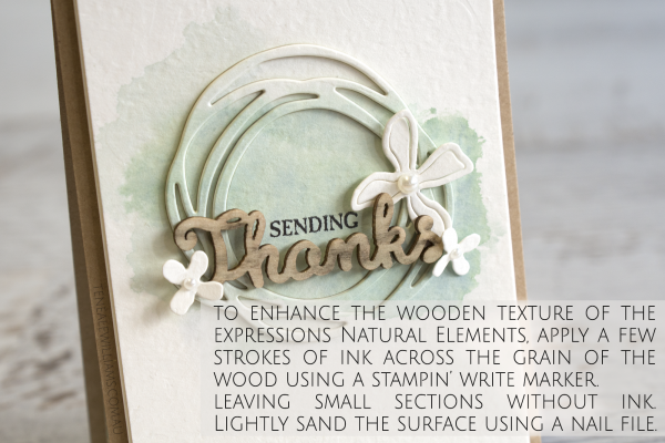 To enhance the wooden texture of the Expressions Natural Elements, apply a few strokes of ink across the grain of the wood using a Stampin' Write Marker. I used Soft Suede and Early Espresso from the Neutrals Stampin' Write Markers collection (item #131261). (It is fine to leave small sections without ink.)