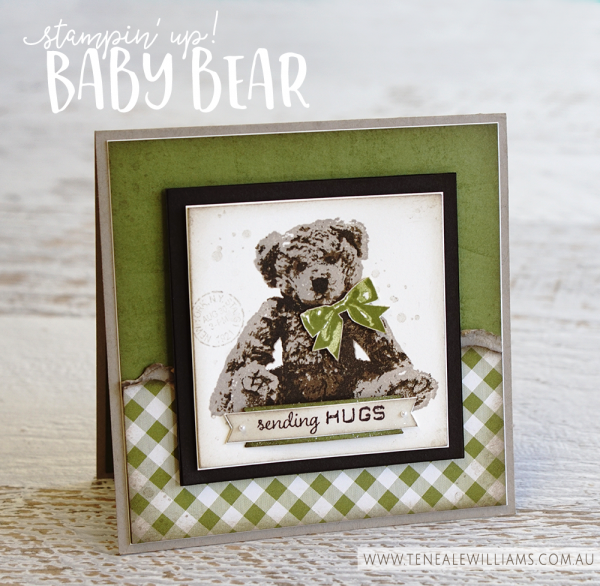 Stampin' Up! Baby Bear Stamp Set | Three layer image Crumb Cake, Soft Suede and Early Espresso