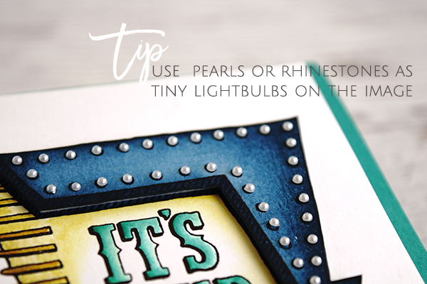 Teneale Williams  | Marquee Messages Photopolymer Stamp Set  by Stampin' Up! | Use  pearls or rhinestones as tiny lightbulbs on the image, there at small circles on the image to guide you for spacing.