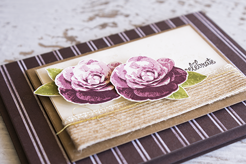 By Teneale Williams, Stampin' Up! Australia | Picture Perfect Stamp Set | Pretty rosees vintage card with Chocolate pin strip background