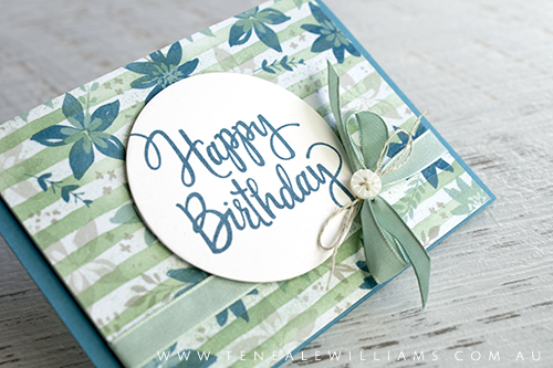 Sara Douglass CASE by Teneale Williams | Stampin' Up! Materials used Brushstrokes Clear-Mount Background and Stylized Birthday Wood-Mount Stamp Set