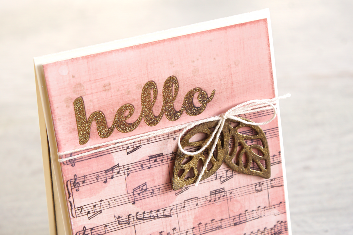By Teneake Williams | Stampin' Up! Sheet Music Background stamp, Wood Words and Hello Friend Stamp Set