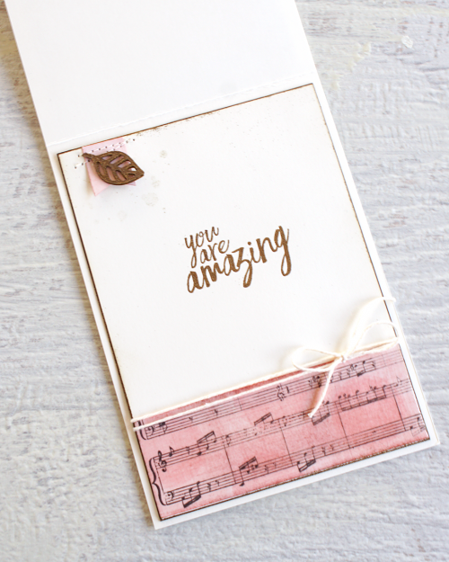 By Teneale Williams | Stampin' Up! Sheet Music Background stamp, Wood Words and All Things Thanks Stamp Set