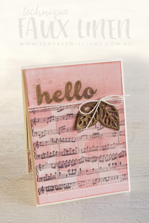 By Teneale Williams | Stampin' Up! Sheet Music Background stamp, Wood Words and Hello Friend Stamp Set