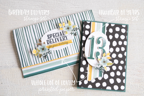 By Teneale Williams | Stampin' Up! Whole lot of Lovely DSP with Number of years Stamp set
