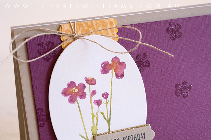By Teneale Williams | Stampin' Up! Pressed Flowers Stamp Set | Faux watercolour technique