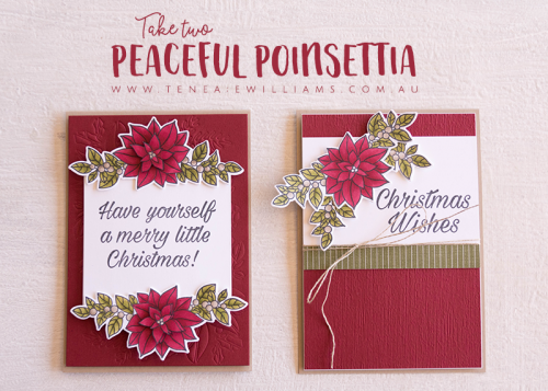 By Teneale Williams | Stampin' Up! Peaceful Poinsettia Bundle Christmas Cards 2018