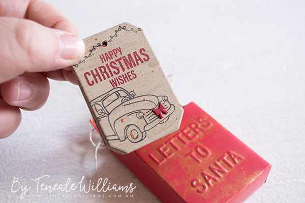 By Teneale Williams | Kmart 'Letters To Santa' Christmas decoration altered to tag tin | Stampin' Up! products used to created Tags