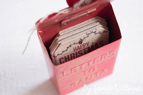 By Teneale Williams   Kmart 'Letters To Santa' Christmas decoration altered to tag tin   Stampin' Up! products used to created Tags