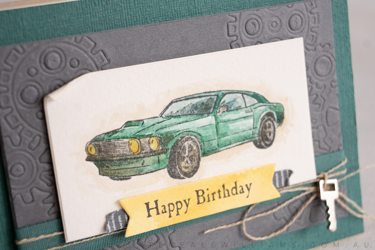 Geared Up Garage from Stampin' Up! | Male watercolour car card by Teneale Williams