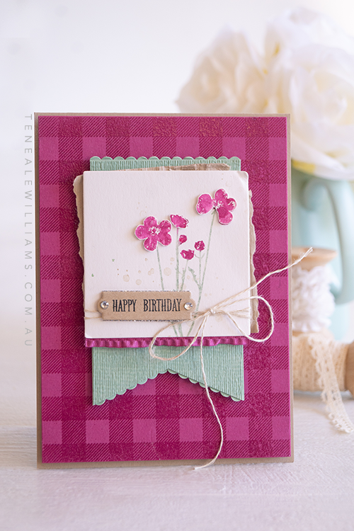 By Teneale Williams | Pressed Flowers and Buffalo Check stamps from Stampin' Up! | TGIF Challenge