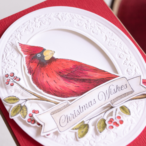Toile Christmas Bundle STampin Up Teneale Williams To achieve depth in festive red plumage of the Cardinal I started with Poppy Parade added a little Real Red and highlights of Cherry Cobbler Stampin' Blends.